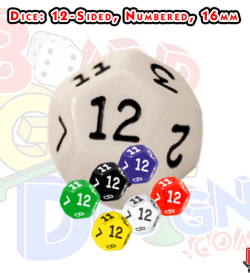 12 sided numbered dice, d12